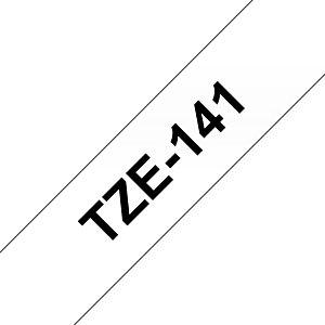Brother TZe-141 Cinta para rotuladora adhesiva, negro sobre transparente, 18 mm x 8 m