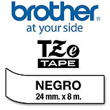 Brother TZe-251 cinta autoadhesiva negro sobre blanco 24 mm.