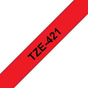 Brother TZe-421, Cinta para rotuladora adhesiva, negro sobre rojo, 9 mm x 8 m