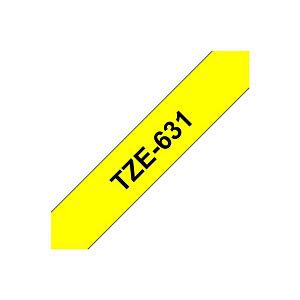 Brother TZe-631 Cinta para rotuladora adhesiva, negro sobre amarillo, 12 mm x 8 m