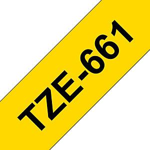 Brother Tze-661 Cinta de etiquetas adhesiva, negro sobre amarillo, 36 mm x 8 m