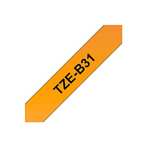 Brother TZe-B31 Cinta autoadhesiva negro sobre naranja fluorescente 12 mm