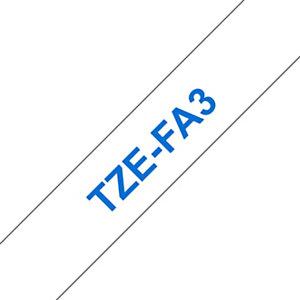 Brother TZe-FA3 cinta autoadhesiva azul sobre blanco 12 mm.