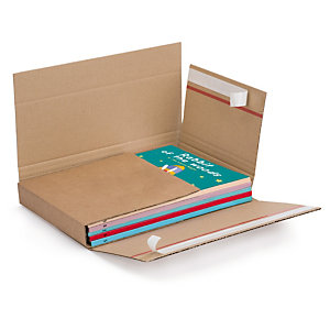 Brown book boxes with adhesive strips and red tear strip