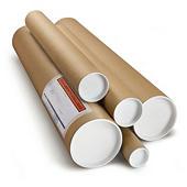 Brown cardboard postal tubes