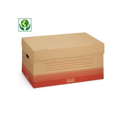 Caisse multi-usage brune et rouge##Bruin-rode opbergdoos met geïntegreerd deksel, handgrepen en dubbele bodem