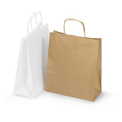 Brune og hvide papirposer med snoede håndtag