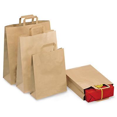Brune og hvite bæreposer i kraftpapir - brettet hank