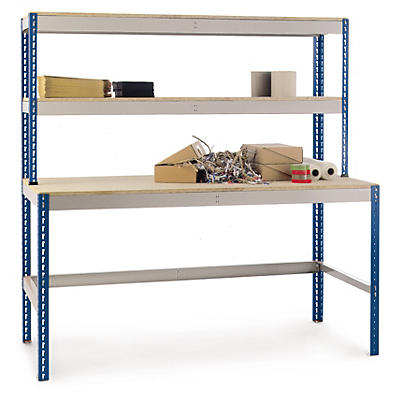 Budget workstations with 2 over bench shelves