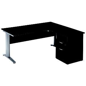 Bureau d'angle compact retour à droite Pronto Métal - L.160 x P.100 cm - Plateau Noir - Pieds Aluminium + Caisson hauteur bureau P.60 cm