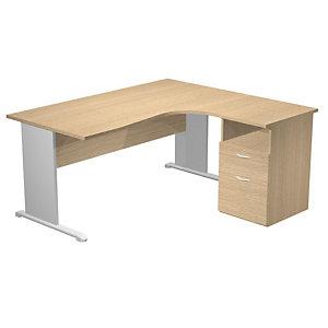 Bureau d'angle compact retour à droite Pronto Tendance - L.160 x P.100 cm - Plateau Chêne - Pieds Aluminium + Caisson hauteur bureau P.60 cm