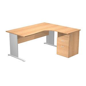 Bureau d'angle compact retour à droite Pronto Tendance - L.160 x P.100 cm - Plateau Hêtre - Pieds Aluminium + Caisson hauteur bureau P.60 cm