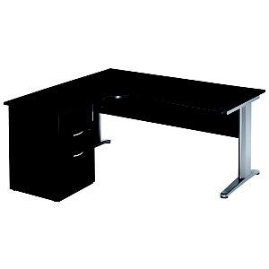 Bureau d'angle compact retour à gauche Pronto Métal - L.160 x P.100 cm - Plateau Noir - Pieds Aluminium + Caisson hauteur bureau P.60 cm