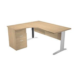 Bureau d'angle compact retour à gauche Pronto Tendance - L.160 x P.100 cm - Plateau Chêne - Pieds Aluminium + Caisson hauteur bureau P.60 cm