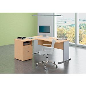 Bureau d'angle compact retour à gauche Pronto Tendance - L.160 x P.100 cm - Plateau Hêtre - Pieds Aluminium + Caisson hauteur bureau P.60 cm