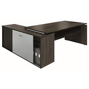 Bureau d'angle direction avec meuble retour suspendu Moka - L.202 x P.160 cm - Chêne café - pieds panneaux