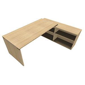 Bureau d'angle direction avec meuble retour suspendu Moka - L.202 x P.160 cm - Chêne clair - Pieds panneaux