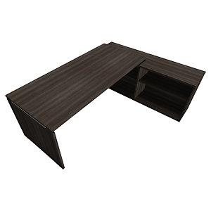 Bureau d'angle direction avec meuble retour suspendu Moka - L.202 x P.160 cm - Chêne royal brun - Pieds panneaux