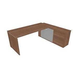 Bureau d'angle direction avec meuble retour suspendu Moka - L.202 x P.160 cm - Noyer ambré - Pieds panneaux