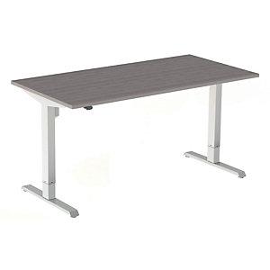 Bureau assis-debout Actual réglable électrique - L. 140 x P. 80 cm - Plateau Chêne grisé - Piétement colonne centré métal  Blanc