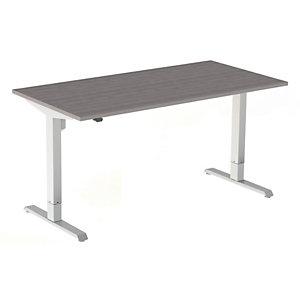 Bureau assis-debout Actual réglable électrique - L. 180 x P. 80 cm - Plateau Chêne grisé - Piétement colonne centré Blanc