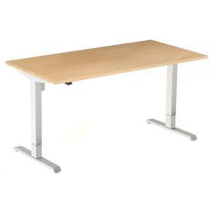 Bureau assis-debout Actual réglage électrique - L. 140 x P. 80 cm - Plateau Hêtre - Piétement colonne centré Blanc