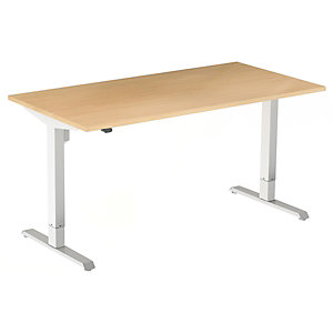Bureau assis-debout Actual réglage électrique - L. 180 x P. 80 cm - Plateau Hêtre - Piétement colonne centré Blanc