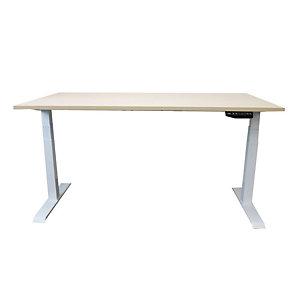 Bureau assis-debout Ergowell réglage électrique L. 160 x P. 80 cm - Plateau Hêtre - Piétement colonne centré blanc