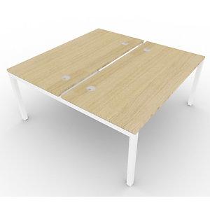 Bureau bench 2 postes - gamme ARCHE - élément départ - L.160 x P.165 x H.72 cm - plateau Chêne - pieds Blanc