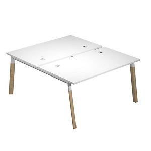 Bureau bench 2 postes Wood 140 x 165 cm pieds bois/ métal Blanc
