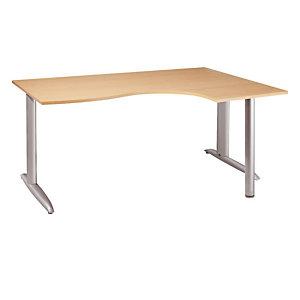 Bureau compact retour à droite Actual - L.180 x P.120 cm - Plateau Aluminium - Pieds L Aluminium