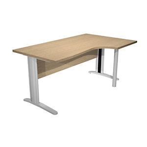 Bureau compact retour à droite Pronto Prestige - L.160 x P.100 cm - Plateau Chêne - Pieds L Chrome
