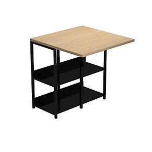 Bureau repliable 2en1 Grafic L. 69 x H. 72,4 cm avec 2 niveaux d'étagères métalliques intégrées – Chêne / Noir