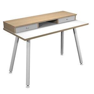 Bureau télétravail Elizey pieds métal 120 x 60 cm réhausse 2 tiroirs et niche de rangement- Chêne naturel / Blanc