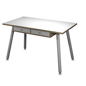 Bureau télétravail pieds métal 120 x 60 cm 2 tiroirs suspendus - Chêne naturel / Blanc