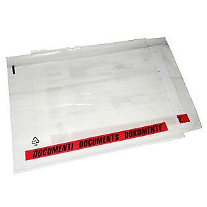 Busta adesiva  portadocumenti, Formato C5, 23,5 x 17,5 cm, Trasparente (confezione 100 pezzi)