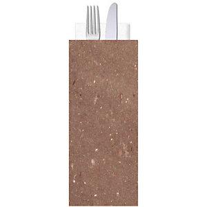 Busta porta posate in carta paglia con tovagliolo doppio velo, Cioccolato (confezione 1.000 pezzi)