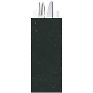 Busta porta posate in carta paglia con tovagliolo doppio velo, Nero (confezione 1.000 pezzi)