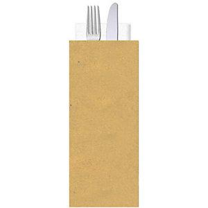 Busta porta posate in carta paglia con tovagliolo doppio velo, Neutra (confezione 1.000 pezzi)