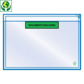 "Buste portadocumenti adesive ecologiche con stampa ""document enclosed"" RAJALIST Green"