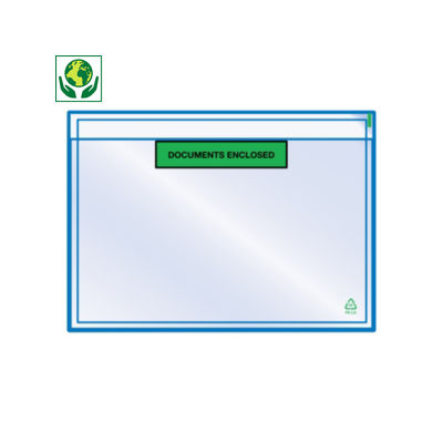 "Buste portadocumenti adesive ecologiche con stampa ""document enclosed"" RAJALIST Green"