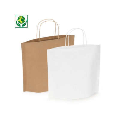 Buste shopper in carta bianca o avana con soffietti sul fondo bottom bags