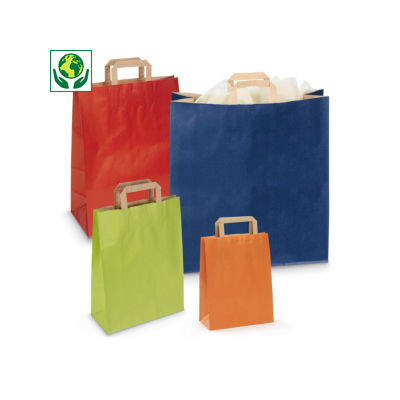 Buste shopper in carta colorata con maniglie piatte RAJASHOP