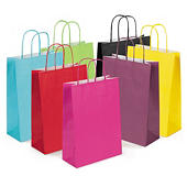 Buste shopper in carta colorata con maniglie ritorte RAJASHOP