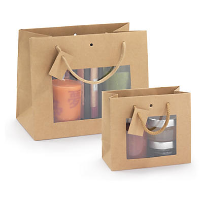 Buste shopper in carta kraft avana con finestra