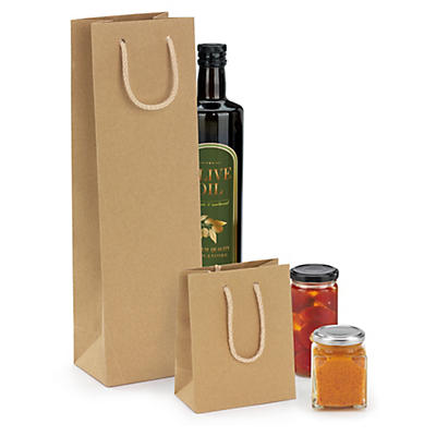 Buste shopper in carta kraft naturale con maniglie a cordoncino