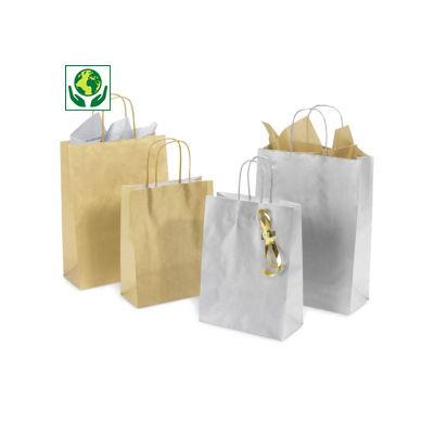 Buste shopper in carta kraft oro o argento con maniglie ritorte