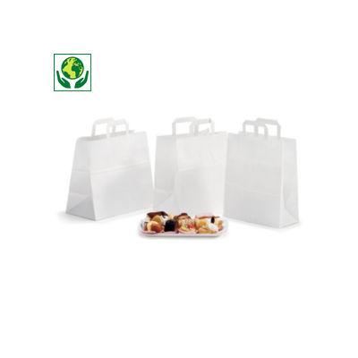 Buste shopper in carta kraft per gastronomia con maniglie piatte