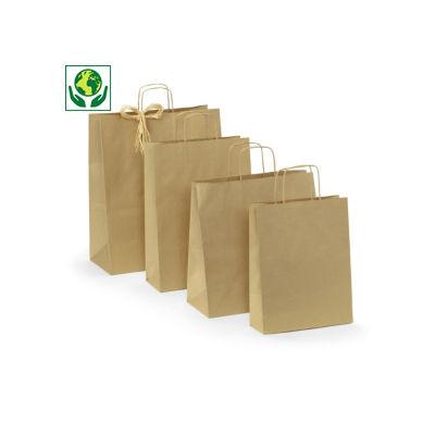 Buste shopper in carta kraft riciclata e riciclabile RAJA