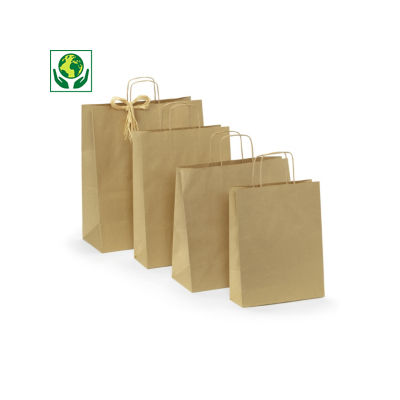 Buste shopper in carta kraft riciclata e riciclabile RAJASHOP